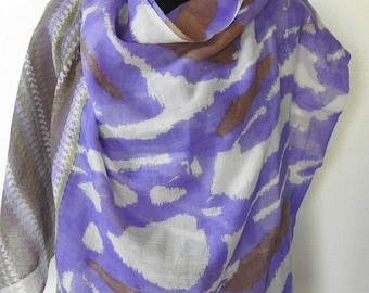 Vintage Wool Challis Shawl Artistic Interesting Bohemian Mauve Green Taupe Off-White Light and Fine Long Scarf or Wrap