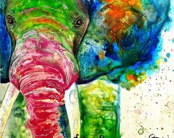 Nursery decor: nursery wall art colorful elephant woodland nursery elephant wall hanging safari nursery decor nursery prints animal art