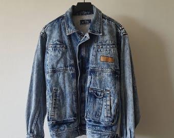 Acid washed Stone washed denim jacket size 50 man