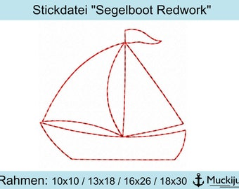 "Embroidery file ""Sailboat Redwork"" 10x10/13x18/16x26/18x30"