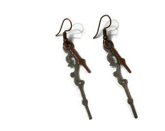 Clock Hand Earrings, Unique Earrings, Dangle Earrings, Unusual Earrings, Statement Earrings,  Steampunk