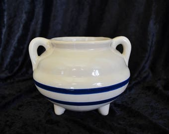 Vintage White Planter with Blue Stripes & Handles