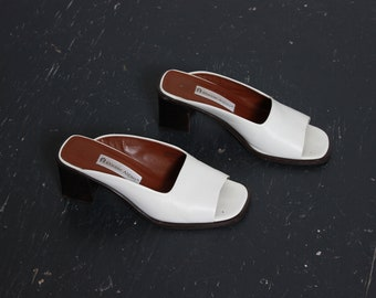 White Leather Backless Mules / Two Inch Heel Loafers / Size 8 W