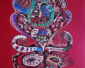 shaman eye          dessin intuitif ,oeuvre unique,format A4 ,livré avec certificat d'authenticité
