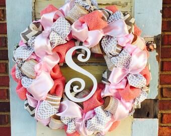 Baby Girl Pink and Gray Hospital Door Wreath