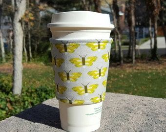 Fabric coffee cozy / coffee cup holder / coffee sleeve -- BUTTERFLY