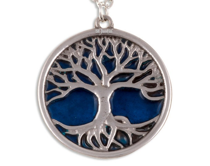 Tree of life pendant with blue enamel- Hand Made in UK
