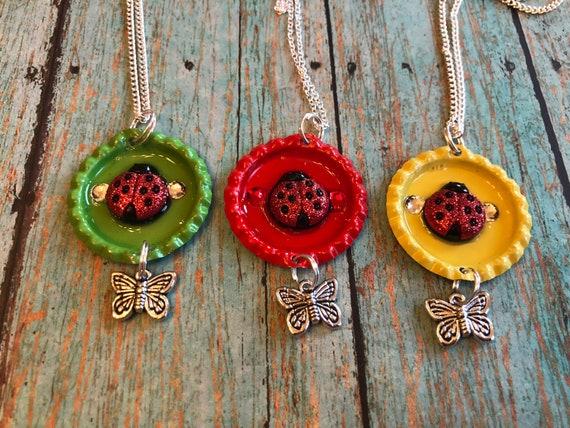 Lady bug bottle cap necklaces