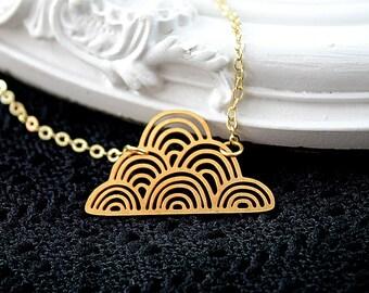 Golden cloud filigree geometric necklace weather sky cute simple