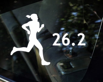 26.2, marathon female runner decal - car, laptop