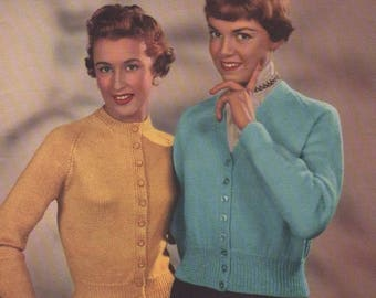 Lister Vintage Knitting Pattern No 374 -Lady's Knitted Cardigans In Mercury DK. Original not a copy
