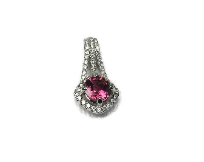 Pink Tourmaline and Diamond Pendant; Diamond Pendant; Tourmaline Pendant; White Gold Diamond and Pink Tourmaline Pendant; White Gold Pendant
