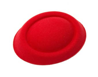 """6 1/2"""" Red Oval Pillbox Stewardess Fascinator Millinery Hat Base - Available in 17 Colors"""