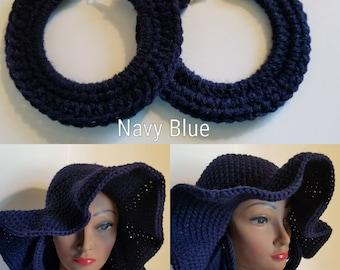 Navy Blue crochet Floppy hat with matching hoop earrings crochet summer hat 70s style hippie hat loc hat dreadlocks