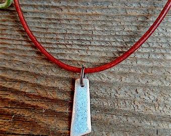 Light Blue Enameled Copper Pendant Necklace