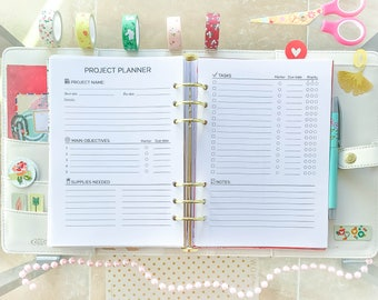 A5 PROJECT Planner Printable pdf Filofax A5 inserts 5.83x8.27 Perpetual Goal Project Tracker Black and White Craft Planner .
