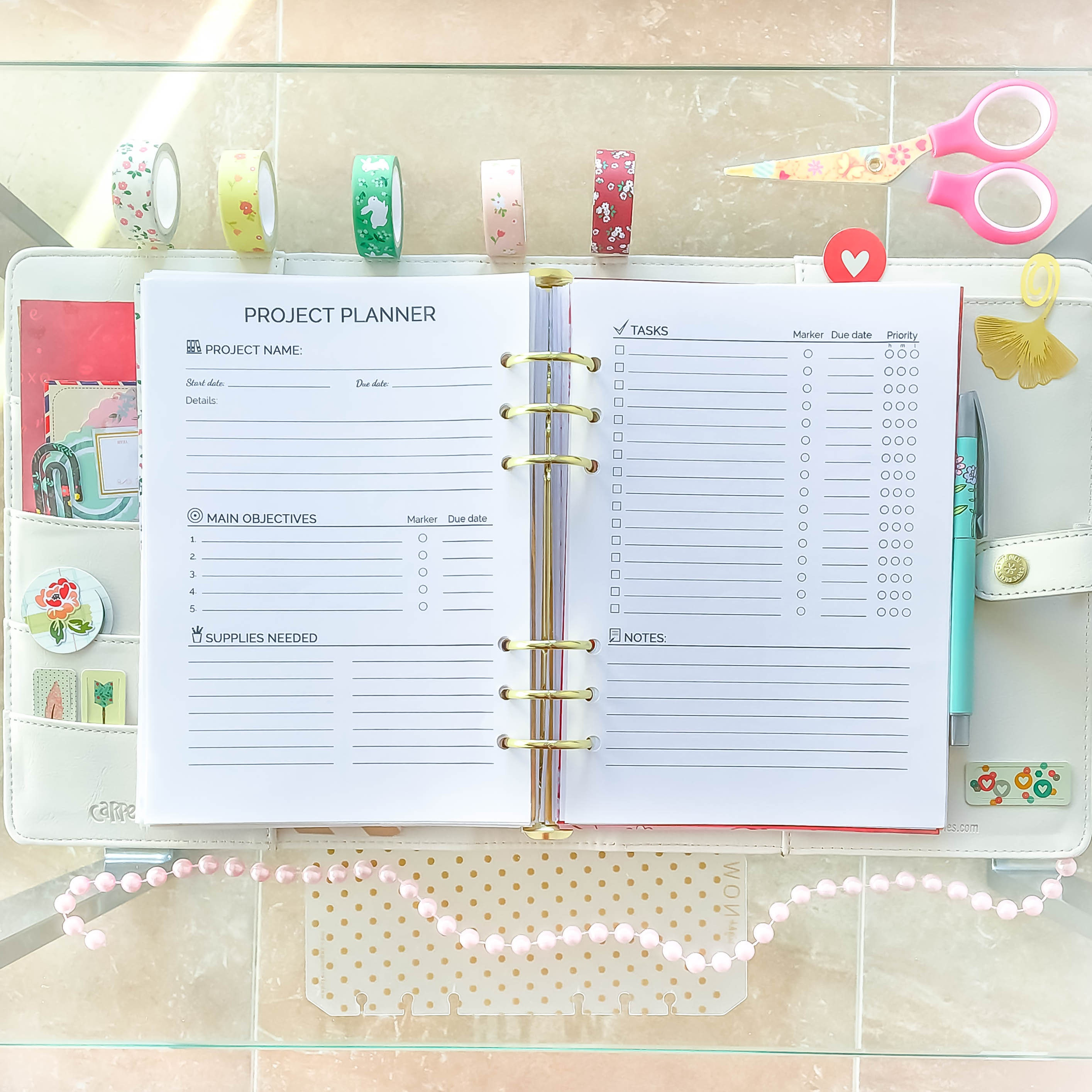 A5 PROJECT Planner Printable pdf Filofax A5 inserts 5.83x8.27