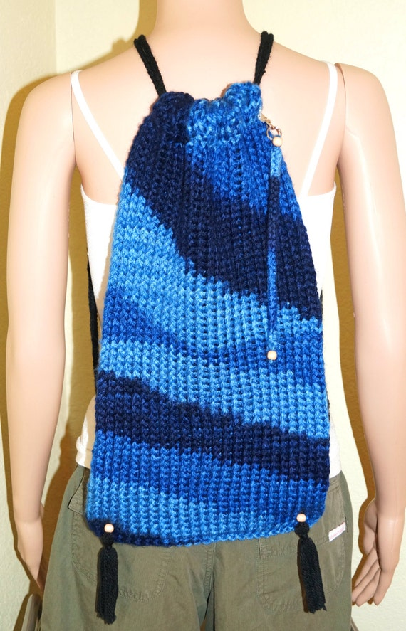 Loom Knit Backpack Tote With Key Chain To Carry Just The
