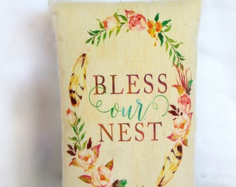 Bless our nest | housewarming gift | home decor pillow | french country home | wedding shower gift | home blessing | pillow tuck |