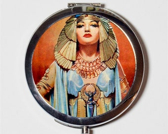 Cleopatra Art Deco Compact Mirror - 1920s Jazz Age Flapper Egyptian Revival Belly Dancing Follies - Make Up Pocket Mirror for Cosmetics