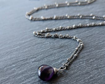 Amethyst necklace - layer necklace - delicate necklace - boho necklace - birthstone necklace - gift for wife or girlfriend - heart necklace