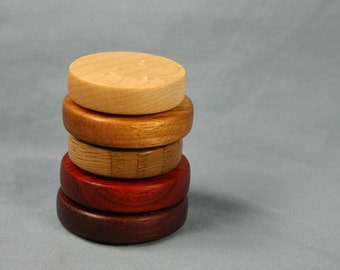 Set of Five Multicolor Wooden Refrigerator Magnets Natural Colors