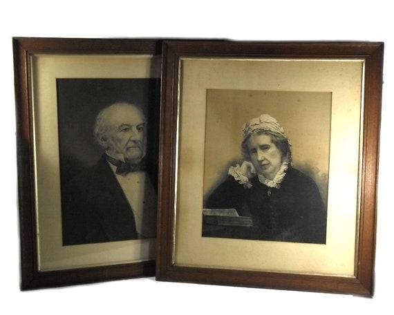 Large Pair of Antique English Framed Ancestor Prints