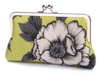 Peony flower clutch bag, chartreuse bloom, embroidered flowers handbag, bridal, bridesmaid