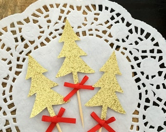 Christmas cupcake toppers ,, gold and red ,, christmas party
