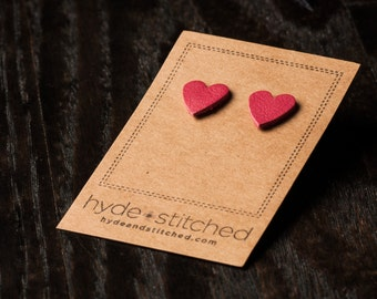 Strawberry Love: heart shaped leather earring, pair of leather heart stud earrings, handmade leather jewelry