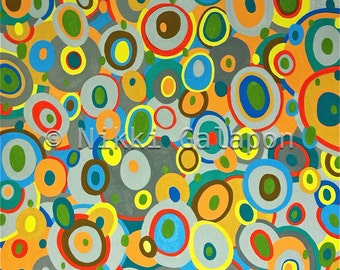 Overlapping Ovals II, Original Gouache Painting, abstract Modern Art, blue yellow brown green red gray
