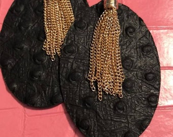 Black Oval & Gold Fringe Earrings