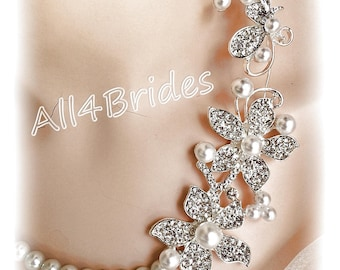 Wedding jewelry, bridal necklace and earrings, crystals and white pearls.