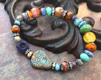 Sugar SKull Festival Stretch Bracelet, bohemian bracelet,beachy jewelry, Luxe Jewelry, Neutral Jewels,skull beaded bracelets, spring 2018