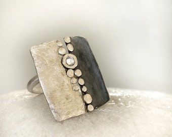 Statement Silver Ring, Square Organic Ring oxidized with a swarovski crystal