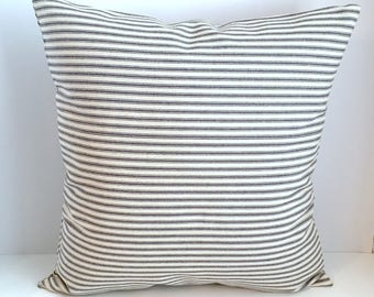 18 x 18 Blue/Natural Ticking Stripe Envelope Style Pillow Cover