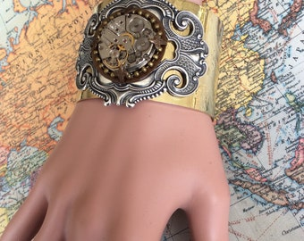 Gold Cuff, Birthstone Jewelry, Steampunk Cuff, Steampunk Bracelet,Steampunk Jewelry, Clockworks, Watch Movement, Cosplay, Neo Victoria