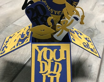 3-D College , High School, Navy and Gold, Graduation Card, Shown with Giftcard Holder, 2018