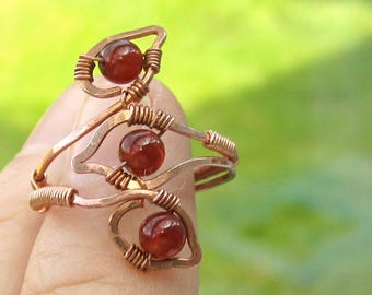 Copper Leaf Ring with Carnelian.
