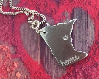 Engraved Minnesota home charm necklace