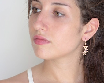 Gold Flower Dangle Earrings, Gemstones Floral Earrings for Women, Sapphire and Ruby Birthstone Jewelry Gift for Her, Free Shipping