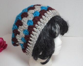 Slouch hat - teal blue grey burgundy hat - Crochet granny hat - Hippie hat - Sale Hat