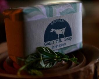 Peppermint Goat's Milk Soap, essential oil, 3oz bar