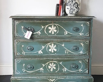 SOLD - Hand Painted Antique Folk Chest of Drawers