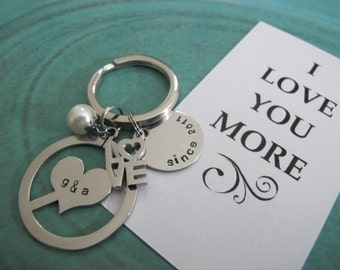 "Valentines Day-Gift for Her-""I Love You More"" Anniversary Gift-Personalized Couple initials keychain-Hand stamped keychain, Gift for her."