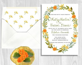 Wedding Invitation, Wreath Hand Painted Watercolor with Spring or Autumn flowers