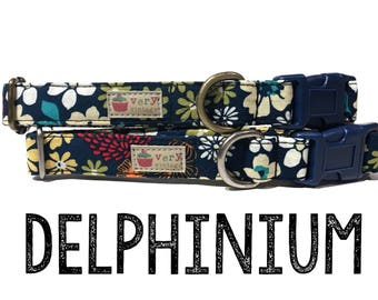 "Dark Blue White Yellow Orange Red Abstract Floral Flowers Girl Dog Collar - Antique Metal Hardware - ""Delphinium"""