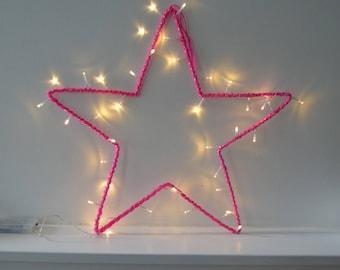Star bright neon pink wool - wall decor