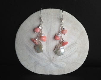 Coral and Pearl Dangle Earrings