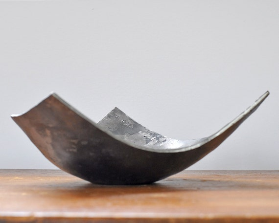 Steel Gifts 11th Wedding Anniversary: Personalized Angular Bowl Hand Forged Modern Steel Wedding